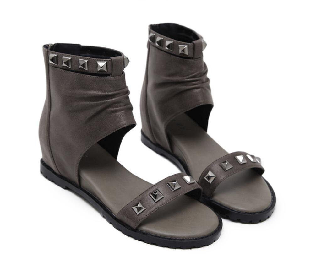 NVLXIE Damen Sandalen Sommer Poe Rom Niet Cool Stiefel Dew Toe Studenten Schul Shopping Zwei Farben 5cm  37|khaki