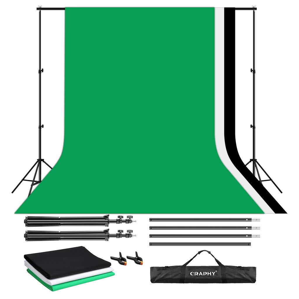 CRAPHY Upgraded Portable Photo Studio 10 x 6.5ft Background Stand Kit Backdrop Support System with Silk Cotton Background (Green Black White, 9ft x 6ft) and Carrying Bag by CRAPHY