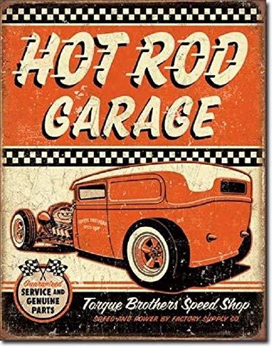 Hot Rod Garage Rat Rods Torque Brothers Retro Muscle Car Decor Metal Tin Sign Metal Wall Signs Hall Garage Poster TIN Sign 7.8X11.8 INCH