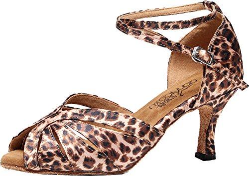 Abby Latin Women Professional Heeled 7140 Cha Swing Party Peep Tango Sudue Satin Wedding Dance Cha Leopard Toe Shoes Ballroom Sole g5gYwrxqn