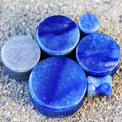 Cocobul Set of 3 of Natural Zebra Ocean Jasper Blue Adventurine Stone Saddle Plugs