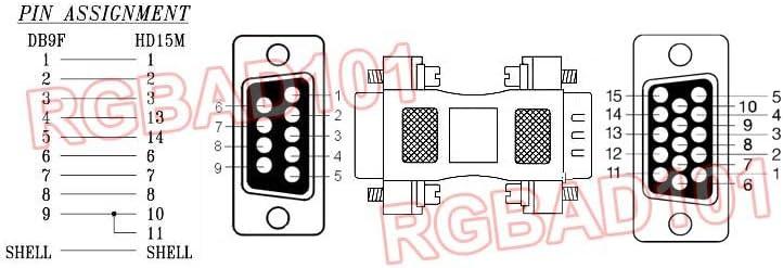 Dual Way RGB DB 9-Pin To HD 15-Pin VGA Adapter For CGA EGA Type ...