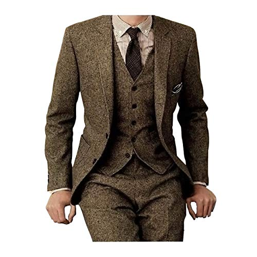 (Men's Tweed Herringbone Check Tan Tuxedos Groom Slim Fit Formal Vintage 3 Pieces Suit,42chest/36waist)