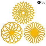 Ritapreaty Food Placemats Heat Insulation Pads European Style Flower Shaped Silicone Pot Western Table Mat [Pack of 3 pcs]