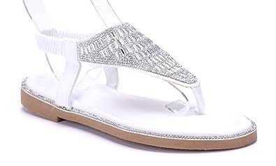 Schuhtempel24 Damen Schuhe Zehentrenner Sandalen Sandaletten Weiß Flach Ziersteine 2 cm aD6qBW