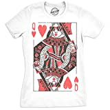 Crazy Dog T-Shirts Womens Queen of Hearts Tshirt Funny Deck of Playing Cards Tee for Ladies (White) - XL