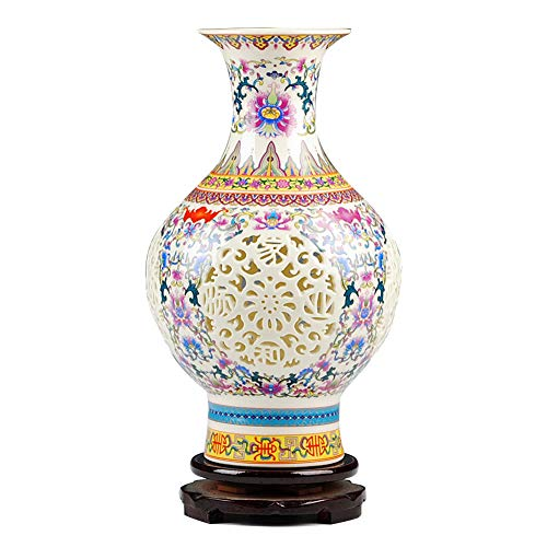 - Hollow Ceramic Chinese vase with Base Colorful Antique Porcelain Flower vase Traditional Modern Decorative Home Centerpiece Traditional Chinese vase-A H28cmxW17cm