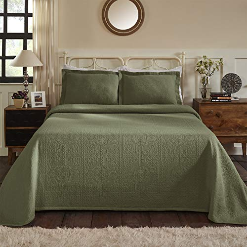 100% Cotton Woven Jacquard Matelass� Bedspread Set, Best Bed Cover, Over-Sized Bedding, Embossed Cotton Fabric, Soft, Breathable, Medium Weight, Classic Design, Medallion Pattern, King Size, Sage