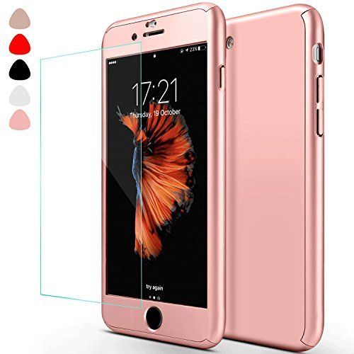 Full Body Coverage (iphone 7 Case,sxxissky Ultra-thin Full Body Coverage Hard Hybrid Plastic with [Tempered Glass Screen Protector] Protective Case Cover & Skin for Apple iPhone 7 4.7''(Rose Gold))