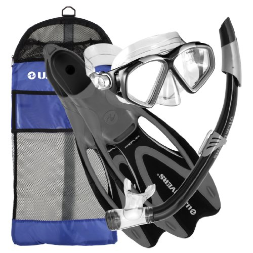 (U.S. Divers Cozumel Snorkeling Set - Adult Mask, Proflex Fins, Splash Guard Snorkel + Gear Bag, Black, Medium/Large 8-9.5)