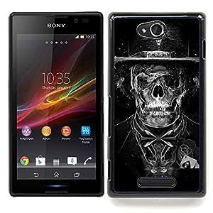 """Qstar Arte & diseño plástico duro Fundas Cover Cubre Hard Case Cover para Sony Xperia C (Goth oscuro esqueleto cráneo Tuxedo"""")"""