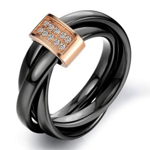 K Mega Bijoux Tungstène Noir & Rose D'or Couleur Cristal Hommes Mariage Anneau Taille 5- 10 R584