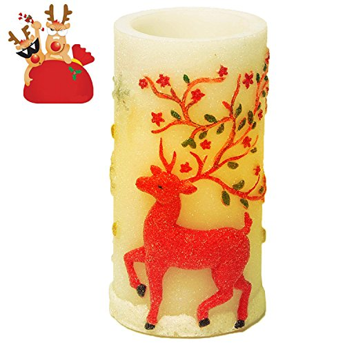Flameless Candles, Christmas candle lights with Timer Battery Operated Candles for Christmas Decorations by CRANACH (Reindeer) Sooty Christmas Party