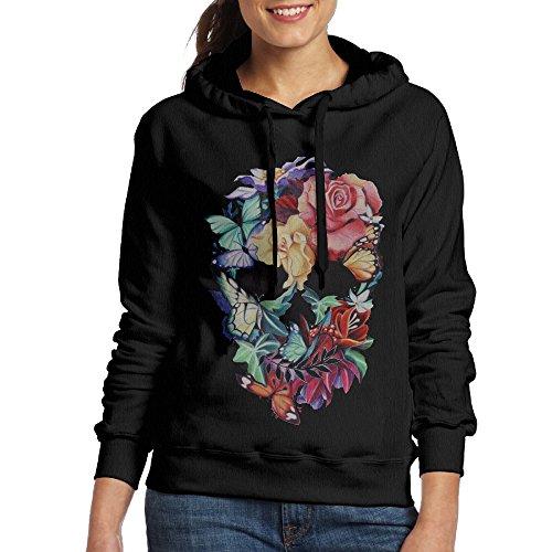 ACFUN Women's Flowers Skull Hooded Sweatshirt Size L Black