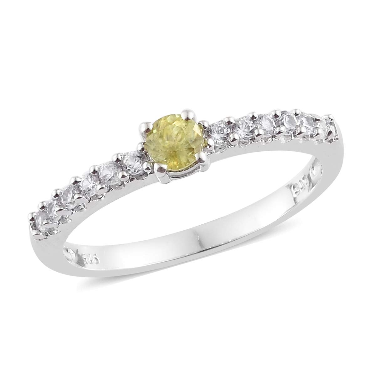 925 Sterling Silver Platinum Plated Round Sphene, Zircon Fashion Ring for Women Size 5 Cttw 0.6