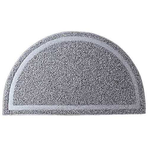 - Exttlliy PVC Half Round Entrance Mat Non-Slip Kitchen Bedroom Bathroom Entry Doormat Floor Rug for Home Decor (Light Gray)