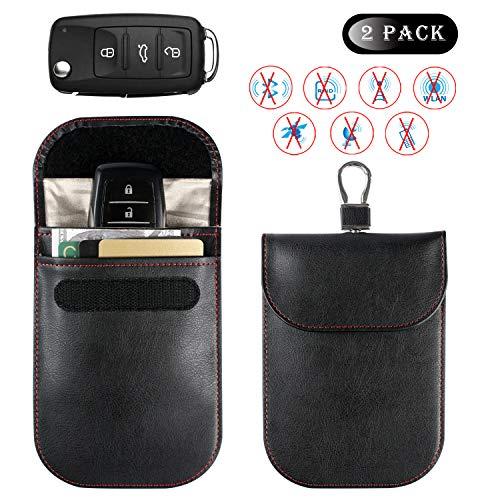 (Car Key Signal Blocker Case, Car Key Fob Signal Blocking Bag, Faraday Bag RFID Key Fob Antitheft Lock Devices RFID/WiFi/GSM/LTE/NFC Protector (2Pack, Black,10x14.5cm))