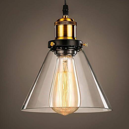 Lightess Luminaire Suspension Vintage Edison industrielle Abat jour en Verre Lampe Plafonnier Pendant Lampe Edison E27 220V Installation Facile pour