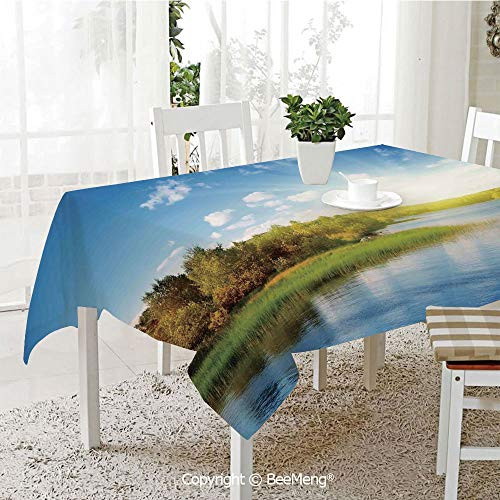 BeeMeng Spring and Easter Dinner Tablecloth,Photo of a Lake with Horizon in Northern Mountains Exploring Earth Miracles Art,Green Blue White59 x 83 inches (Best Food South Lake Union)
