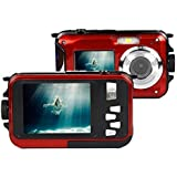 Fitiger Digital Camera 2.7 inch +1.8 inch Screens HD 1080P CMOS 16x Zoom Camcorder Mini Camera-Red