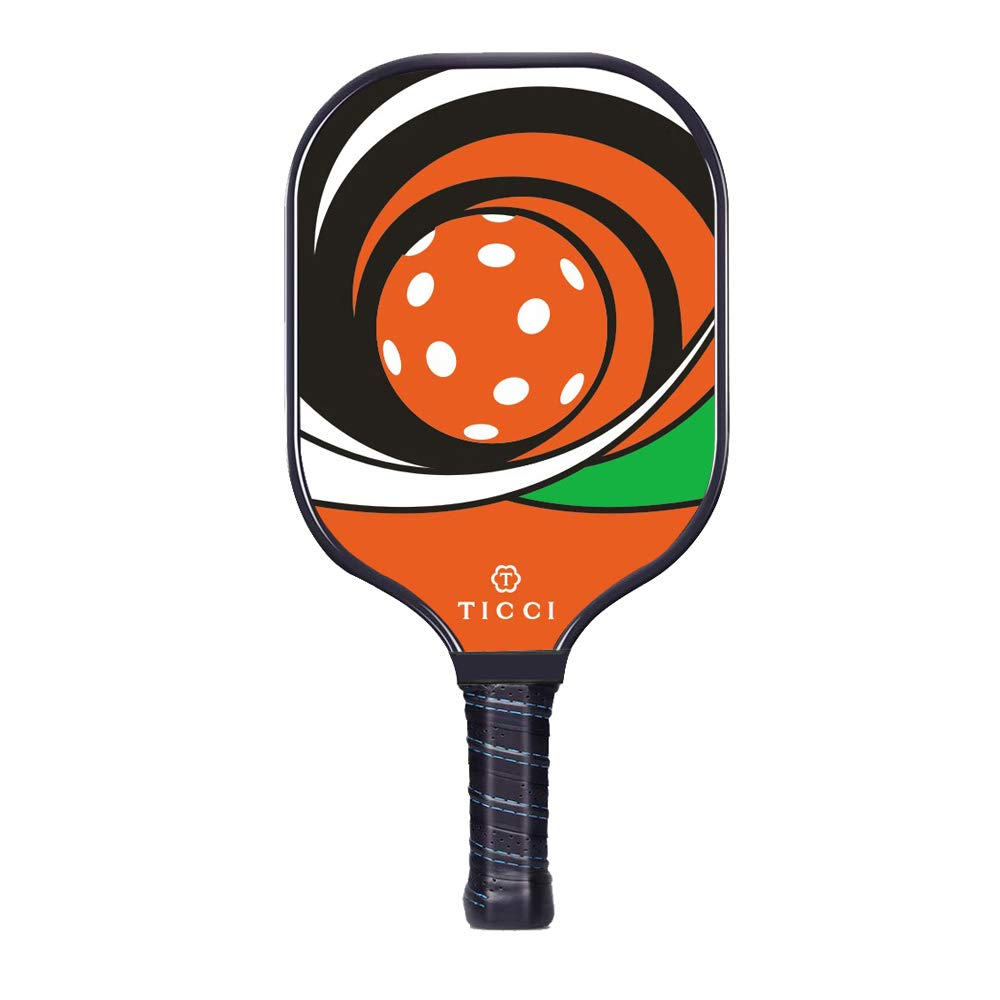 TICCI Pickleball Paddle Fiberglass Face Pickleball Racket Lightweight Honeycomb Composite Core Pickleball Racquet (Fiberglass Red Green) by T TICCI