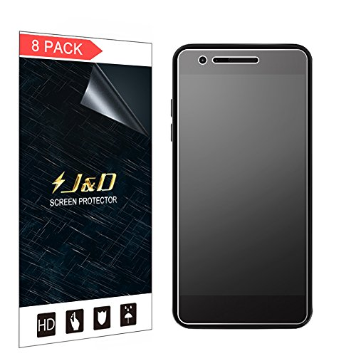 J&D Compatible for 8-Pack LG Aristo 2/Tribute Dynasty/Tribute Empire/Aristo 2 Plus/Phoenix 4/Zone 4/K8 2018/Rebel 4 Screen Protector, [Not Full Coverage] Anti-Glare Matte Film Shield Screen Protector ()