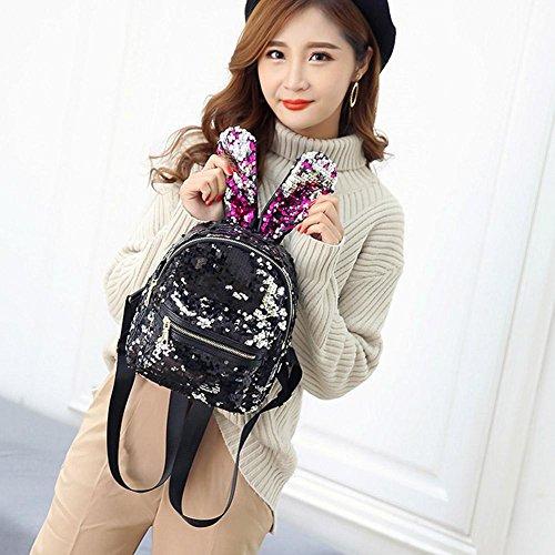 White Bag Bag Cute Girls Rabbit Backpack Multicolor YouN Shoulder Sequins Mini Ears Women FqOAxwRP6
