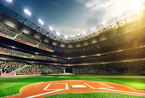 (Laeacco 7x5ft Baseball Backdrop MLB Baseball Game Stadium Light Green Grass Exciting Spectator Sport Background Poster Photographic Picture)