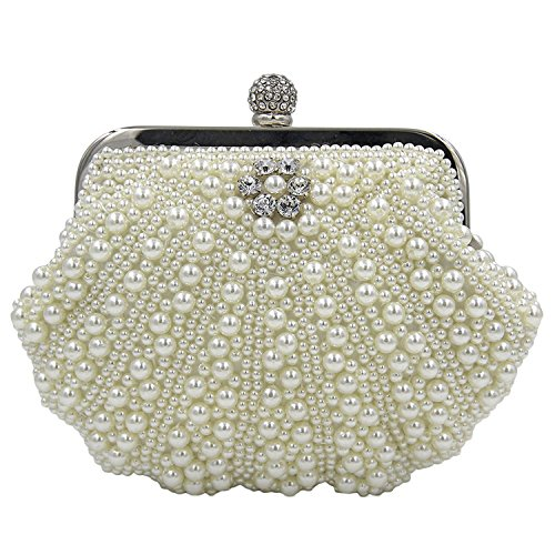 Kaever Women's Evening Bag Pearl Bead Crystal Bag Shell Handbag Wedding Bags