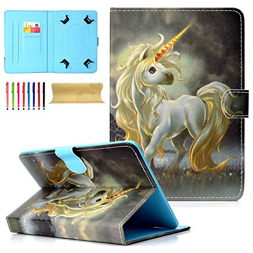 9.5-10.5 inch Universal Case, Cookk Multi-Angle PU Leather Magnetic Closure Case Cover Flip Stand Protective Shell Case for All 9.5-10.5 inch Tablet(New iPad 9.7,Air 1 2, Samsung Tab),Gold Hair Horse (Tablet Case Asus 10 1)