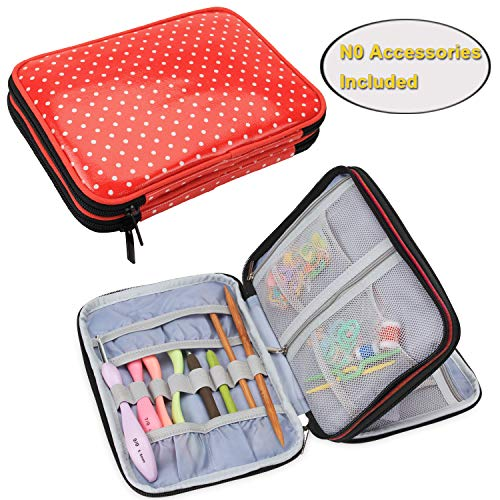 Teamoy Crochet Hook Case, Travel Storage Bag for Swing Crochet Hooks, Lighted Hooks, Needles(Up to 8'') and Accessories, Red Dots(No Accessories Included) ()