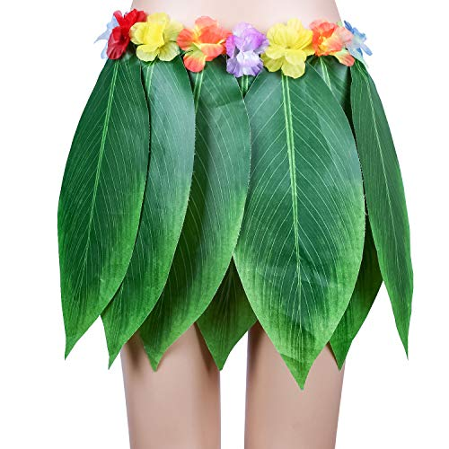 Ti Leaf Hula Skirt Hawaiian Leaf Skirt Green Grass Skirt for Girls with Artificial Hibiscus Flowers,Halloween Luau Party Costume