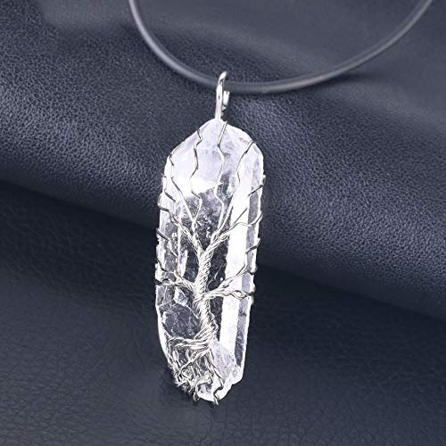 VATT Natural Crystal Pillar Big Pendants Antique Copper Wire Wrapped Tree of Life Quartz Pendant for Necklace Leather Chain Silver Necklace (Silver Wrapped Pillar)