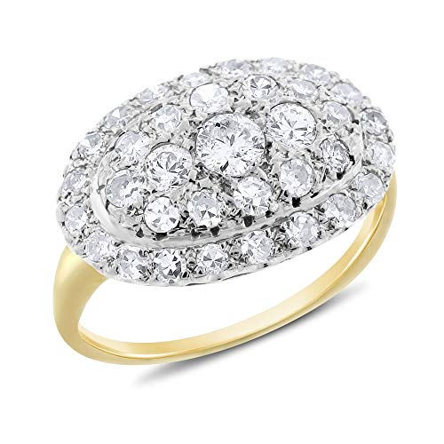 (0.98 Ct. Vintage Estate Diamond Dome Cocktail Ring in Solid 14k Gold Circa 1920s)