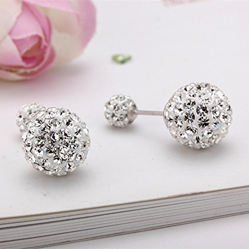 925 silver sphere the size of the stars before and after the full duplex ear jewelry earrings diamond earrings female exaggerated sterling (Diamond Sphere)