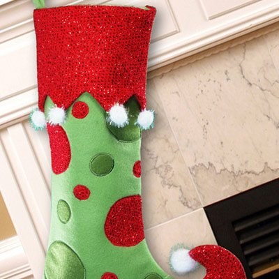 "GiftsForYouNow Polka Dot Personalized Christmas Stocking, 21"", Embroidered"