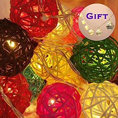 Goodia Buy One Get One Free - 5cm 20 White & Pink & Green Rattan Ball / Battery Operated LED Fairy Lights - Ideal Wedding, Christmas & Party String Lights(Gift:10 Sliver/Gold Moroccan Orb Battery Operated LED Fairy Lights)