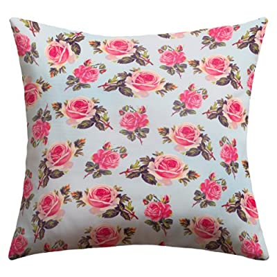 Deny Designs Allyson Johnson Pink Roses Outdoor Throw Pillow, 16 x 16 - 100% medium weight woven polyester fabric UV protected and mildew resistant Printed on front and back - patio, outdoor-throw-pillows, outdoor-decor - 51BnJnubtGL. SS400  -