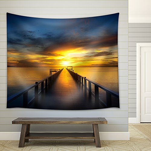 Bridge into the Sea at Sunset Fabric Wall Tapestry