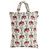 Teamoy Travel Hanging Wet Dry Bag (17.3 ¡Á13.4 inches) for Cloth Diapers Dirty Clothes Organizer Tote Bag, Elephants