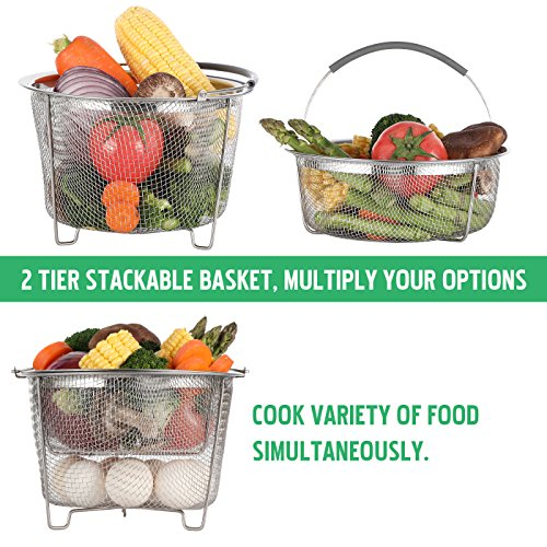 Aoizta Double Tier Stackable Steamer Basket for Instant Pot Accessories 6/8 qt, 18/8 Stainless Steel Mesh Strainer Basket for Vegetables, Eggs, Meats, etc by Aozita (Image #2)