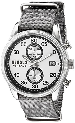 Versus by Versace Men's 'SHOREDITCH' Quartz Stainless Steel and Canvas Casual Watch, Color:Grey (Model: - Men Versace Versus
