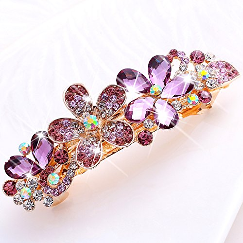 usongs Korean large hairpin top folder tail clip head ornament crystal diamond diamond hairpin spring clip crimp horse hair ornaments