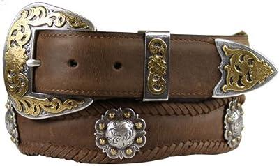 "Old Saddle Western Scalloped Conchos Leather Belt - 1 1/2"" wide"
