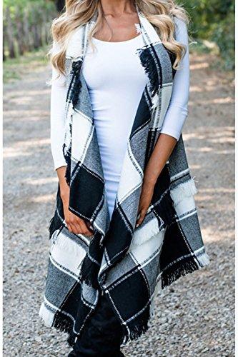 Externa Rejilla Mujer Chaleco Abierto gris Irregular Flecos Frente Elegante Borlas Chaqueta Grandes Capa Zilcremo con EOwqdgFE