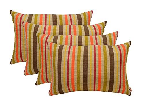 RSH Décor Set of 4 Indoor Outdoor Decorative Lumbar Throw Pillows Sunbrella Solano Fiesta - Tan/Beige, Coral Orange, Olive/Sage Green & Brown Stripe - Choose Size (12