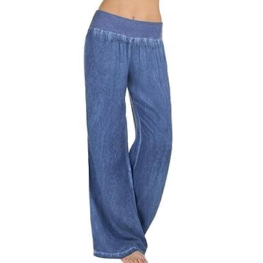 Sannysis Mujer Casual Cintura alta Elasticidad Pantalones anchos Pantalones vaqueros,Mujer Ancho Pierna Cintura Alta Elástica Holgados Flojos Suave ...
