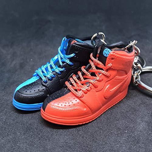 Pair Air Jordan I 1 Retro High Quai 54 Q54 Red Blue Friends & Family OG Sneakers Shoes 3D Keychain 1:6 Figure