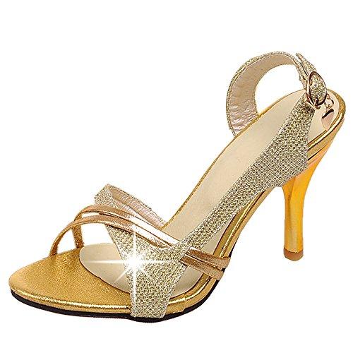 TAOFFEN Women Fashion Thin Heel Sandals Gold pFnvSE