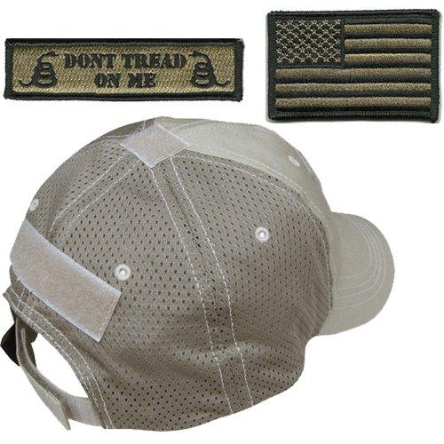 - Gadsden and Culpeper Operator Cap Bundle - w USA/Dont Tread Patches (Tan Cap - Mesh)